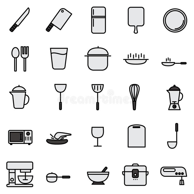 Küchenlinie Ikone eingestellt mit einfacher Ikone lizenzfreie abbildung