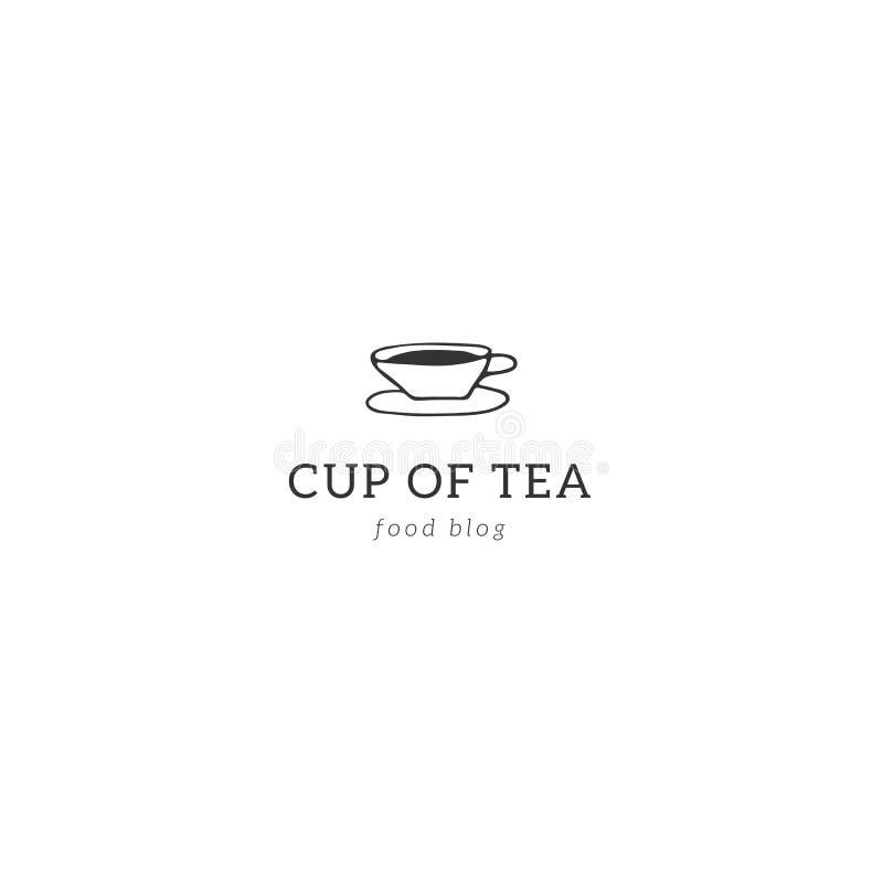 Küchenlogoschablone Eine Tasse Tee Gezeichneter Gegenstand des Vektors Hand lizenzfreie abbildung