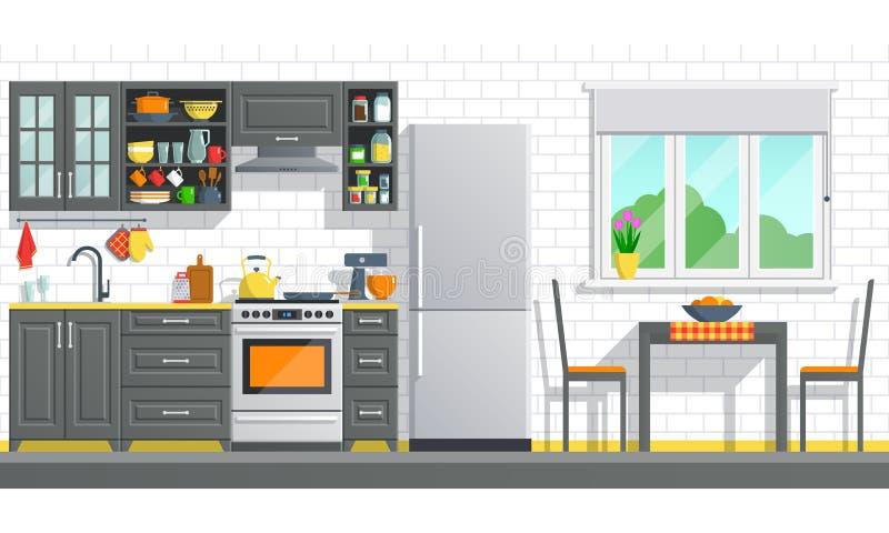 Küchenmöbel mit Geräten auf einer weißen Backsteinmauer stock abbildung