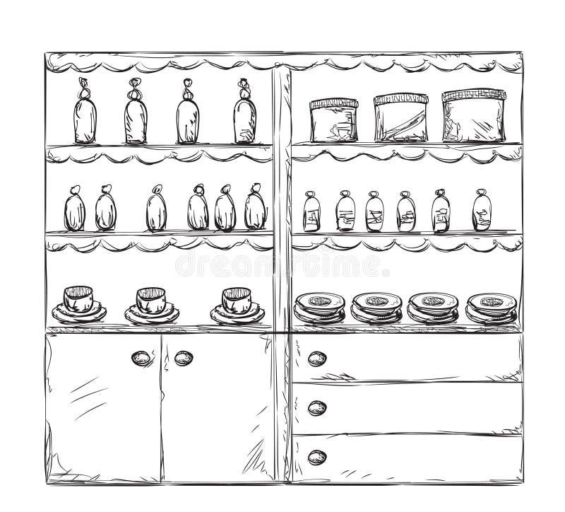 Küchenmöbelskizze Hand gezeichneter Schrank stock abbildung