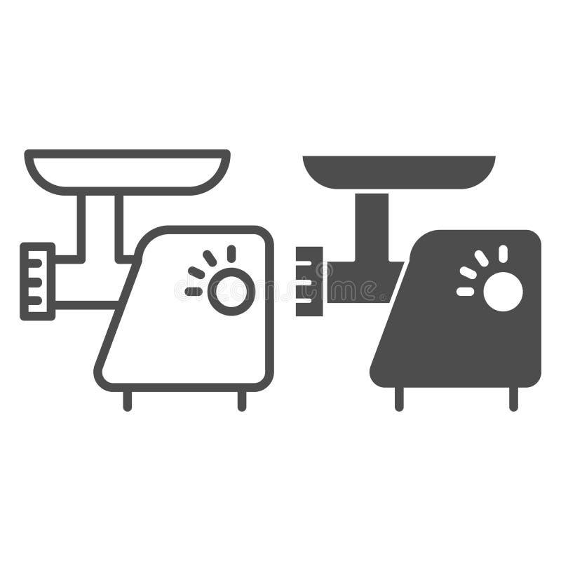 Küchenmaschinelinie und Glyphikone Elektrische Schleifervektorillustration lokalisiert auf Weiß Zerhackerentwurfs-Artentwurf stock abbildung
