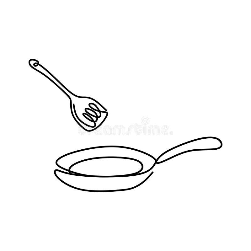 Küchenmaterial der Linie ununterbrochener zeichnender unbedeutender Entwurf der Bratpfanne eine auf weißem Hintergrund stock abbildung
