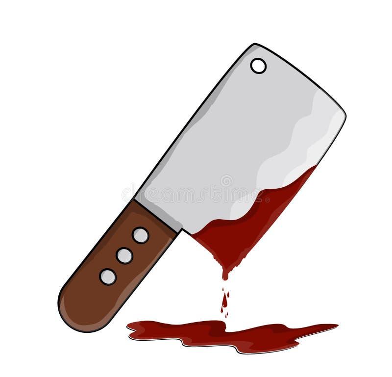 Küchenmetzgerzerhacker mit Blutvektorsymbol-Ikonendesign lizenzfreie abbildung
