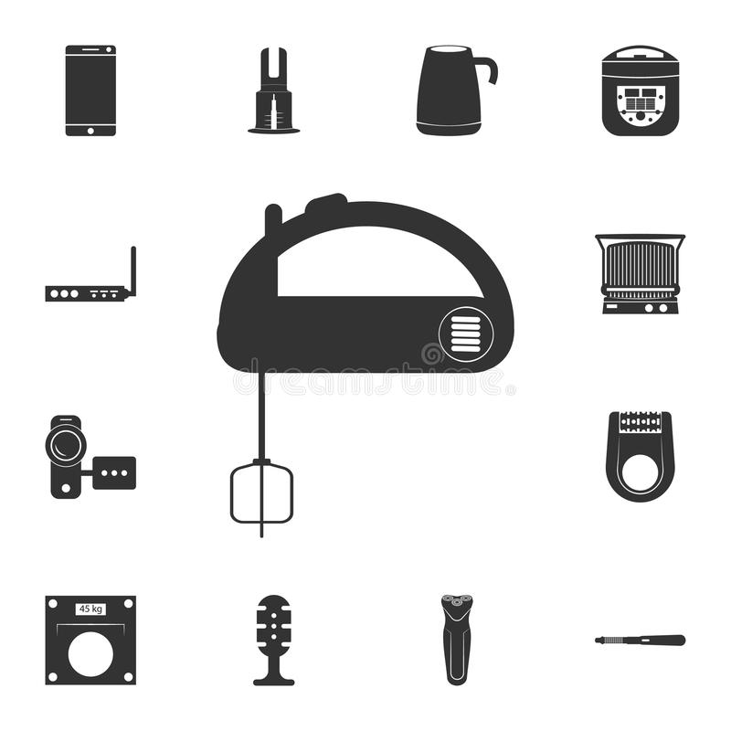 Küchenmischerikone Ausführlicher Satz Haushaltsartikelikonen Erstklassiges Qualitätsgrafikdesign Eine der Sammlungsikonen für Web stock abbildung