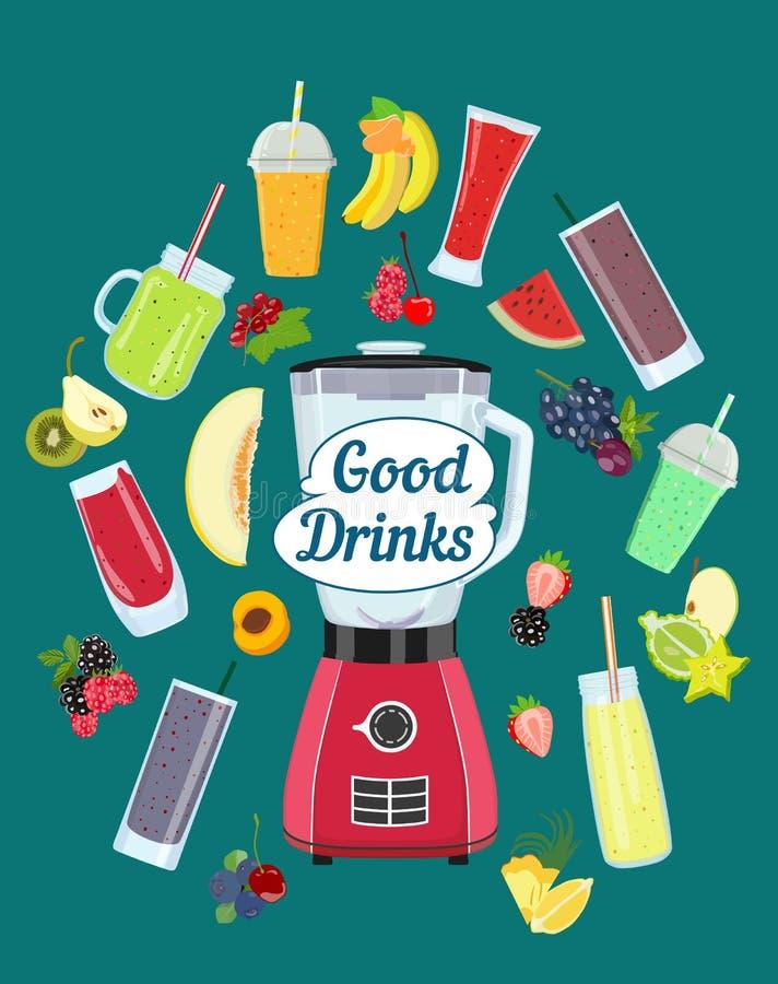 Küchenmischmaschine und gesunde Fruchtgetränke Auch im corel abgehobenen Betrag stock abbildung