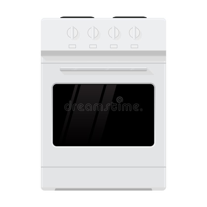 Küchenofen Inländischer freistehender Kocher Flaches Design stock abbildung