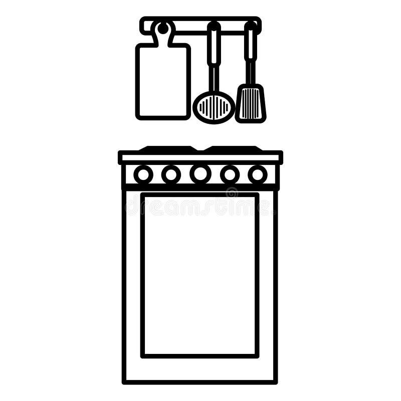 Küchenofen mit dem Tischbesteckhängen lizenzfreie abbildung