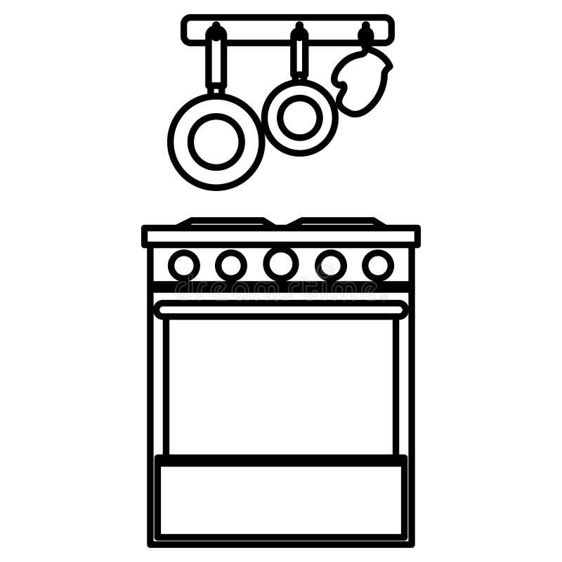 Küchenofen mit dem Tischbesteckhängen vektor abbildung