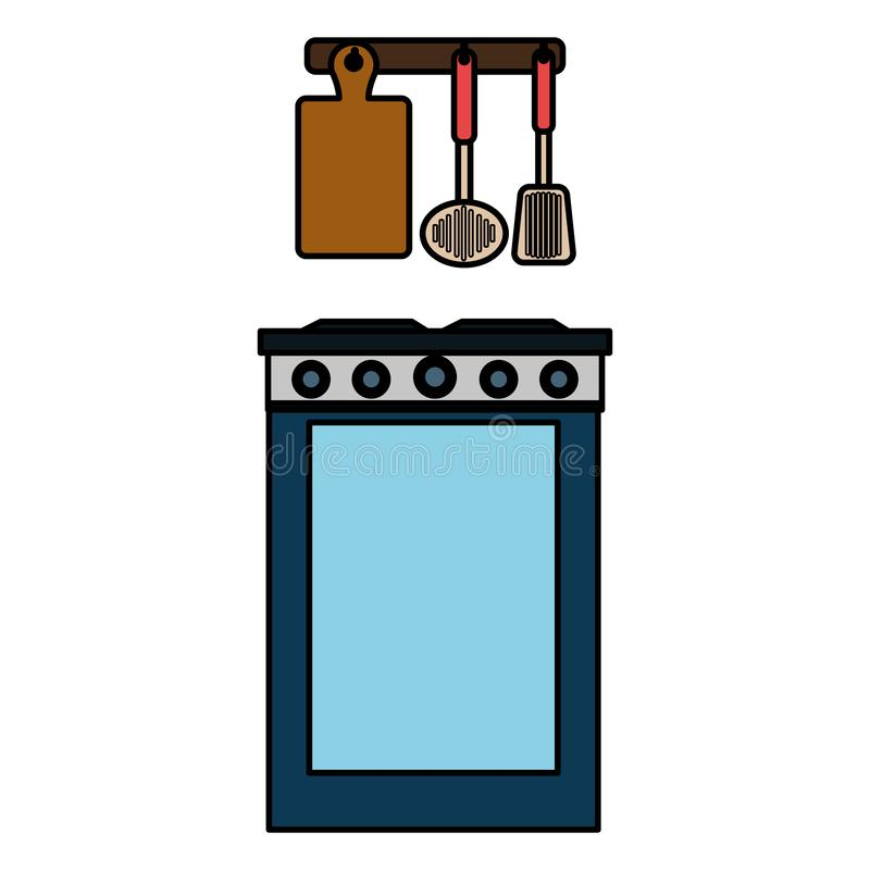 Küchenofen mit dem Tischbesteckhängen stock abbildung