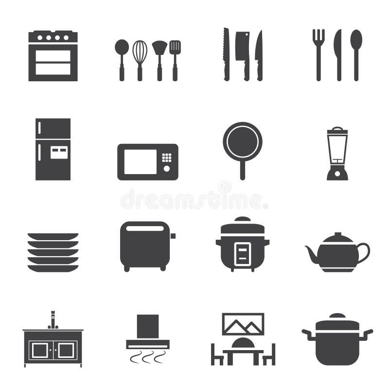 Küchenraum-Ikonensatz vektor abbildung