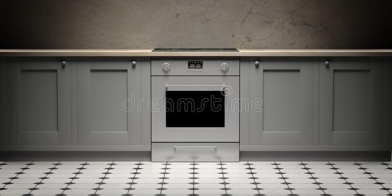 Küchenschränke und eletric Ofen auf Keramikfliesenboden, Vorderansicht Abbildung 3D lizenzfreie abbildung