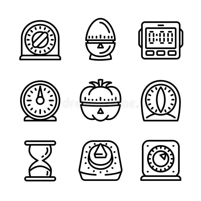 Küchentimer-Ikonensatz, Entwurfsart vektor abbildung
