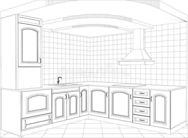 Küchenvektor-Skizzeninnenraum Abbildung stock abbildung
