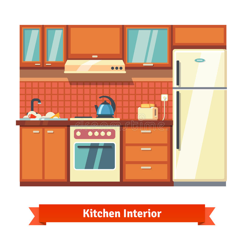 Küchenwandinnenraum vektor abbildung