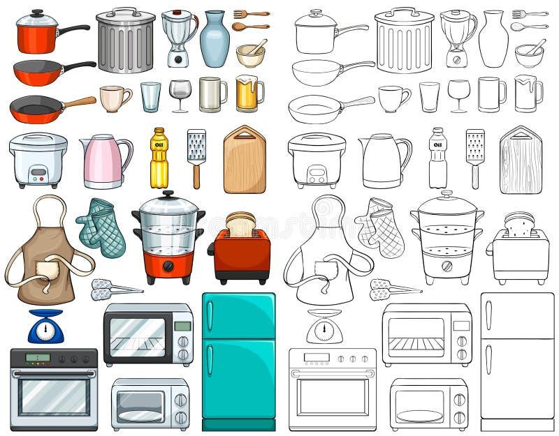 Küchenwerkzeuge und -ausrüstungen lizenzfreie abbildung