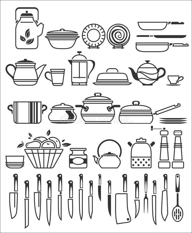Küchenwerkzeuge Und -geräte. Vektorillustration Vektor Abbildung ...