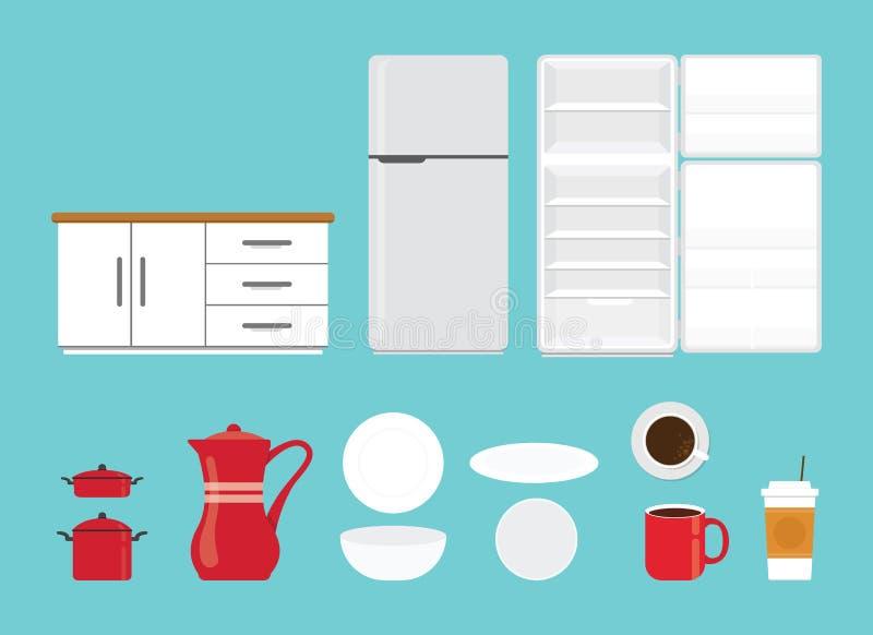Küchenwerkzeugsatzsammlung mit verschiedener Form und Modell mit moderne flache Art lokalisiertem Gegenstand - Vektor lizenzfreie abbildung