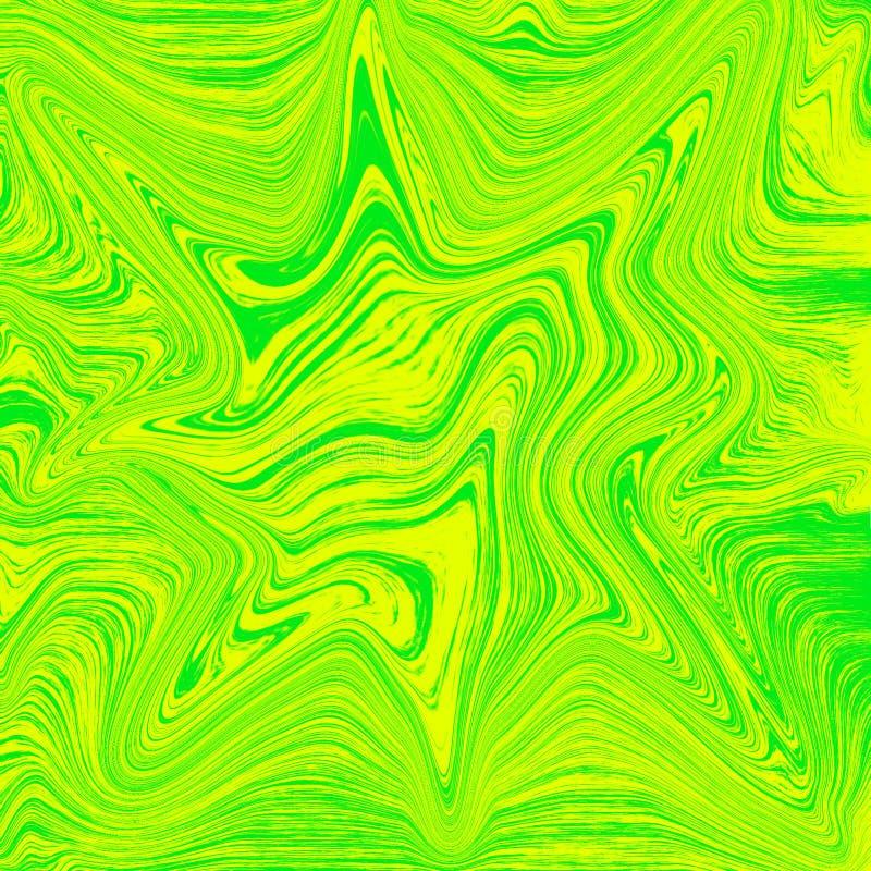 Kühle abstrakte flüssige Tapete Gelbe und gr?ne Farbkombination flüssige digitale Marmorierungillustration stock abbildung