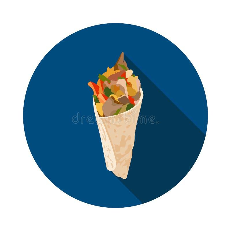 Kühle flache Shawarma-Ikone stock abbildung