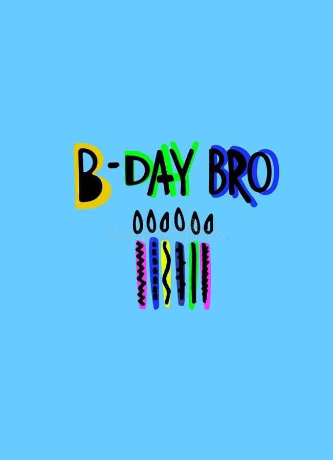 Kühle Geburtstagsgrußkarte für Jungen Lustige Karikatur-?hnliche Beschriftung und Kerzen auf einem blauen Hintergrund stockfoto