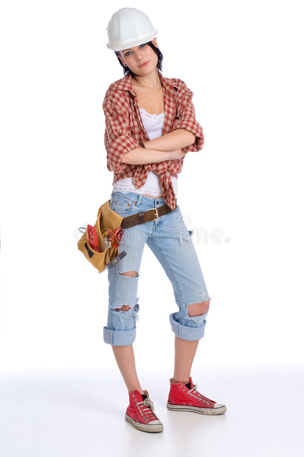 Kühle Handwerkerin lizenzfreies stockbild