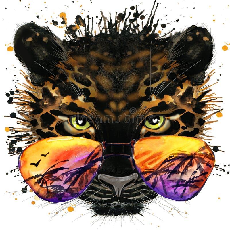 Kühle Jaguar T-Shirt Grafiken Jaguarillustration mit strukturiertem Hintergrund des Spritzenaquarells ungewöhnliche Illustrations lizenzfreie abbildung