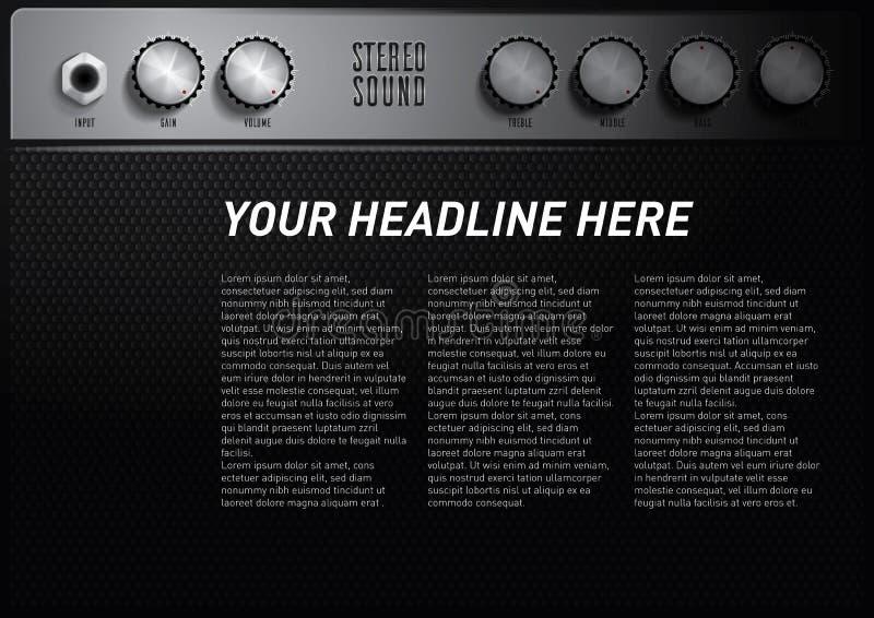 Kühle Musikthema-Plakatschablone mit Verstärkervolumenknopf lizenzfreie abbildung