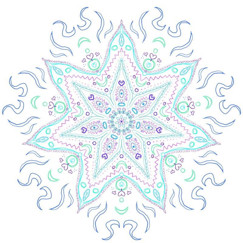 Kühle Tone Spectrum Blue Mandala lizenzfreie stockfotografie