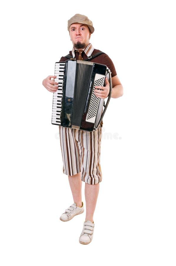 Kühlen Sie Musiker mit Konzertina ab lizenzfreies stockfoto