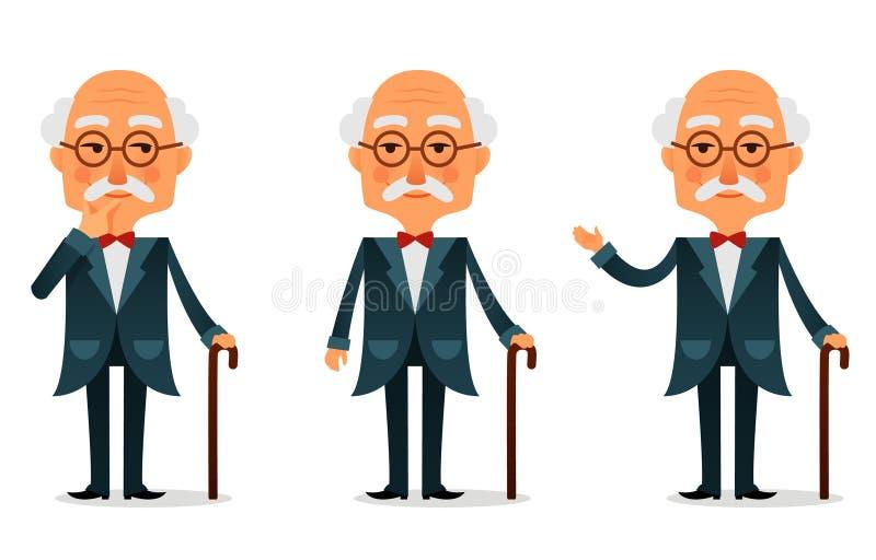 Kühler älterer Mann mit Spazierstock lizenzfreie abbildung