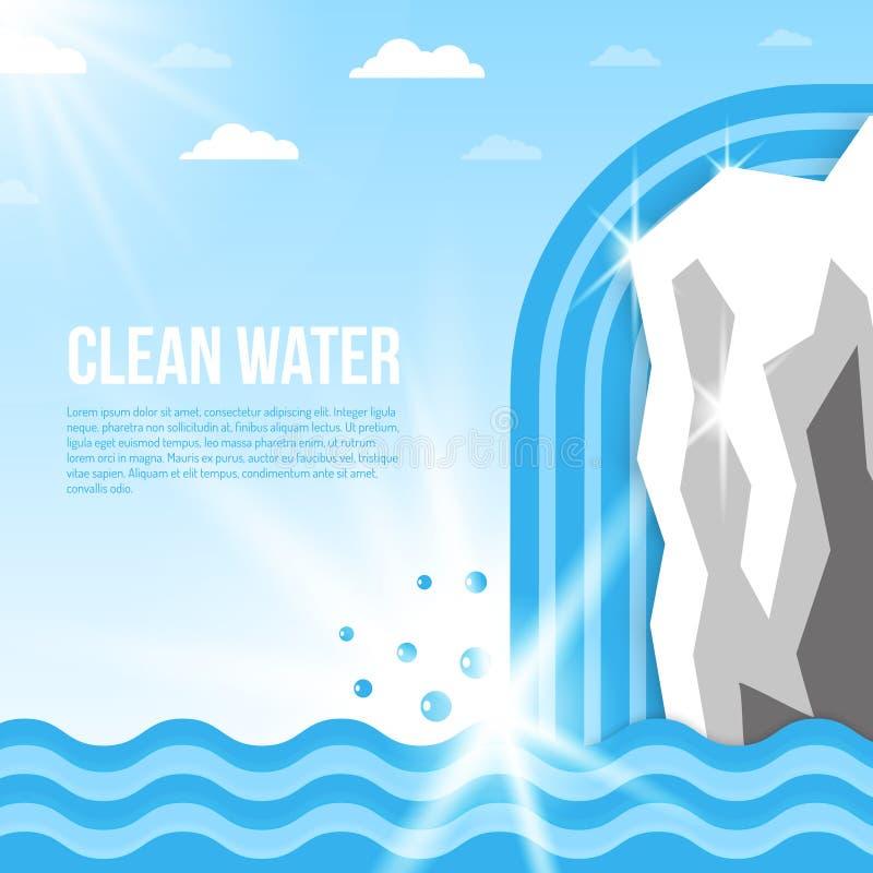 Kühler blauer Hintergrund mit abstrakten Wasser-Tropfen - Link-Oberseite Exemplar-Platz stock abbildung
