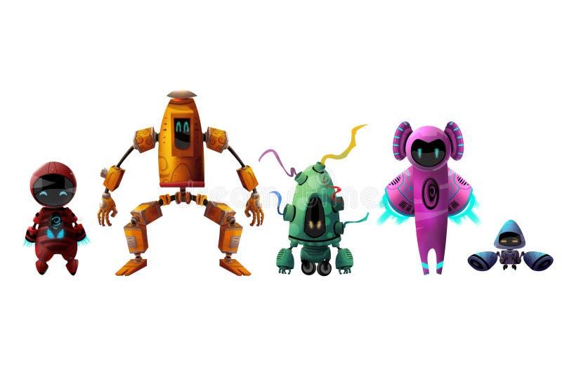 Kühler Charakter: Roboter-Satz lokalisiert auf weißem Hintergrund lizenzfreie abbildung