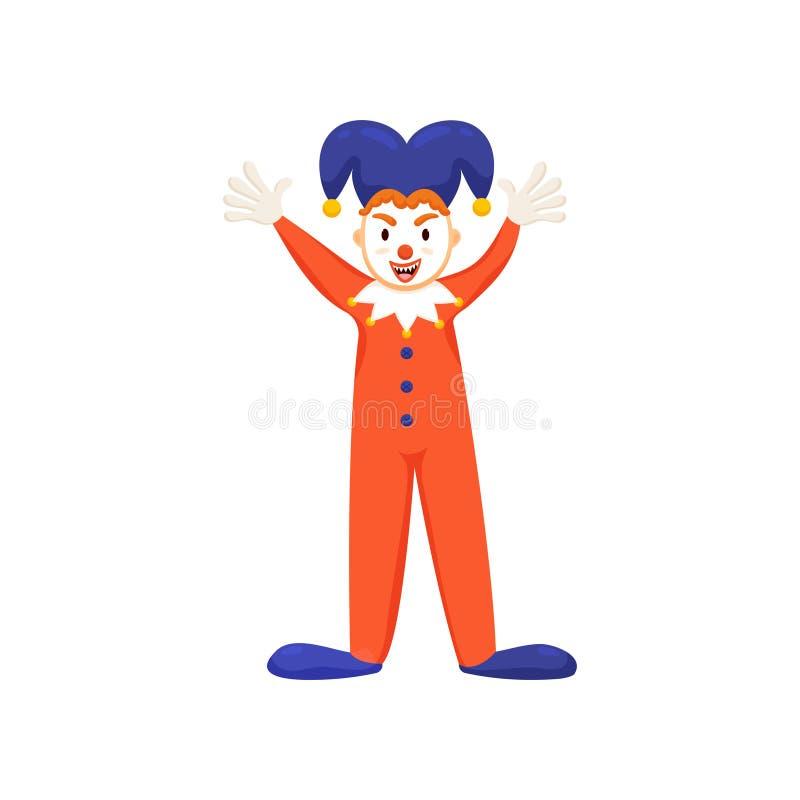 Kühler Clown oder Spaßvogel mit violettem Hut und roter Kleidung vektor abbildung