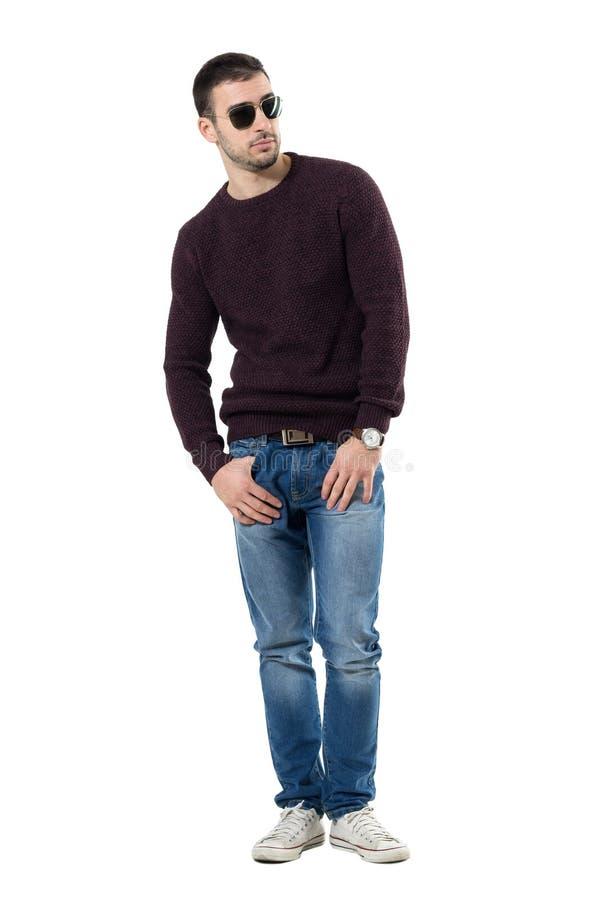 Kühler entspannter zufälliger Mann im Pullover mit der Sonnenbrille, die weg schaut stockfotografie