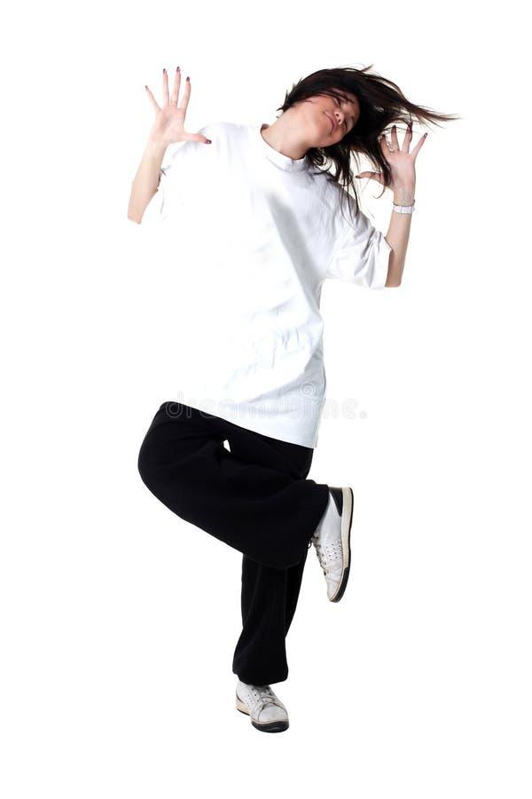 Kühler Frauentänzer getrennt auf Weiß lizenzfreies stockfoto