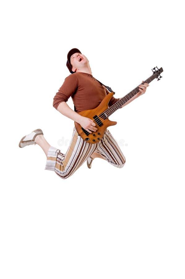 Kühler Gitarrist auf Weiß lizenzfreie stockfotos