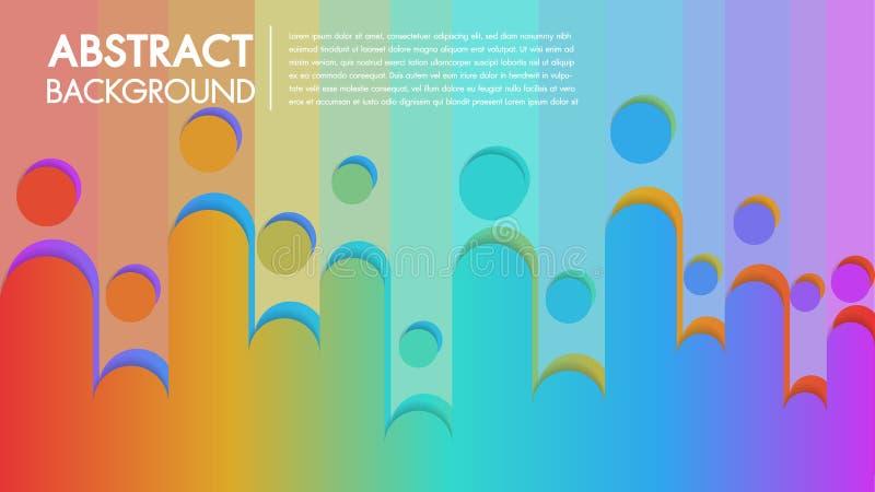Kühler Hintergrund buntes abstraktes Plakat mit flachem geometrischem Muster Flüssigkeit formt Zusammensetzung mit modischen Stei lizenzfreie abbildung