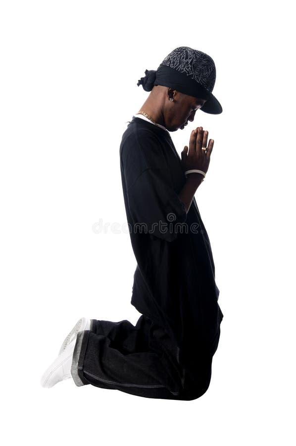 Kühler junger Hip-hopmann auf weißem Hintergrund stockfotos