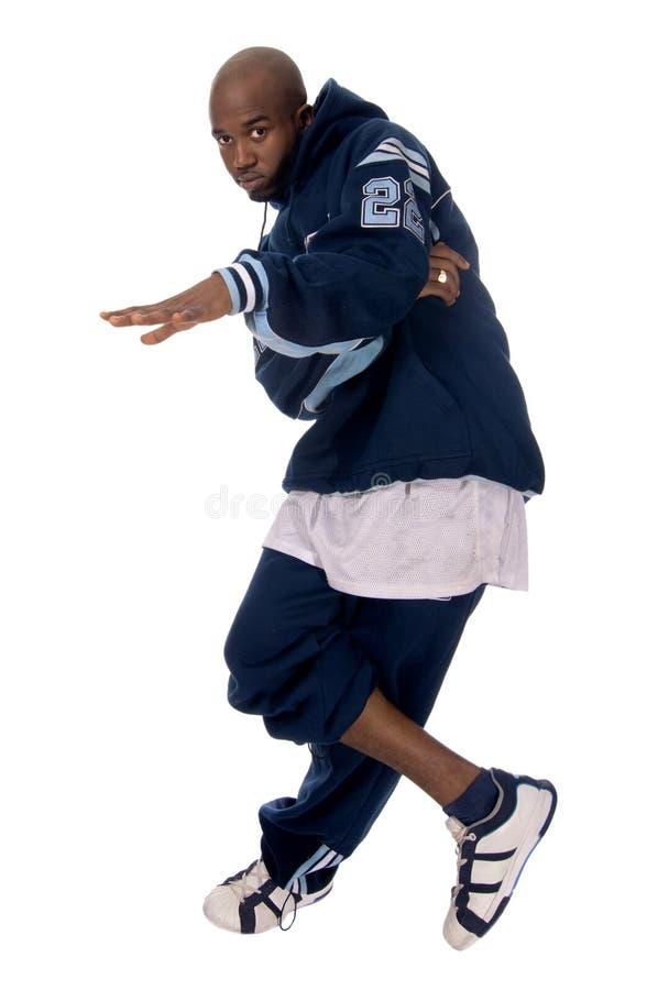 Kühler junger Hip-hopmann auf weißem Hintergrund lizenzfreie stockfotos