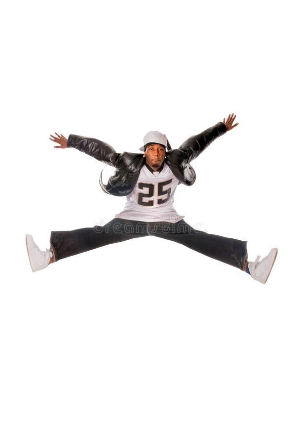 Kühler junger Hip-hopmann auf weißem Hintergrund stockbild