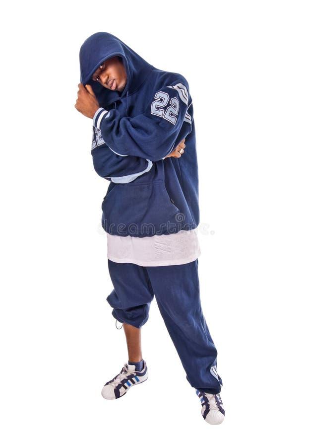 Kühler junger Hip-hopmann auf weißem Hintergrund stockfotografie