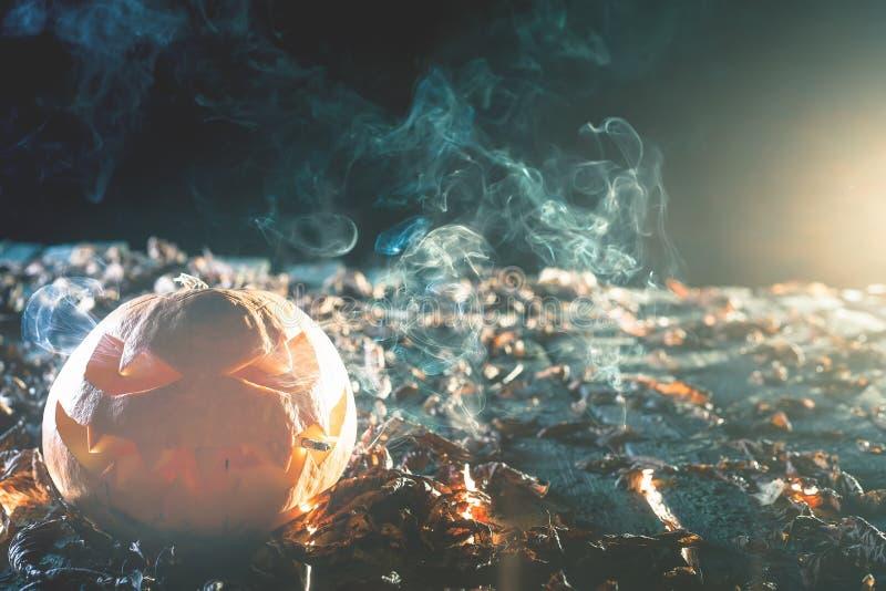 Kühler Kürbis, der eine Zigarette bei Halloween raucht stockfoto