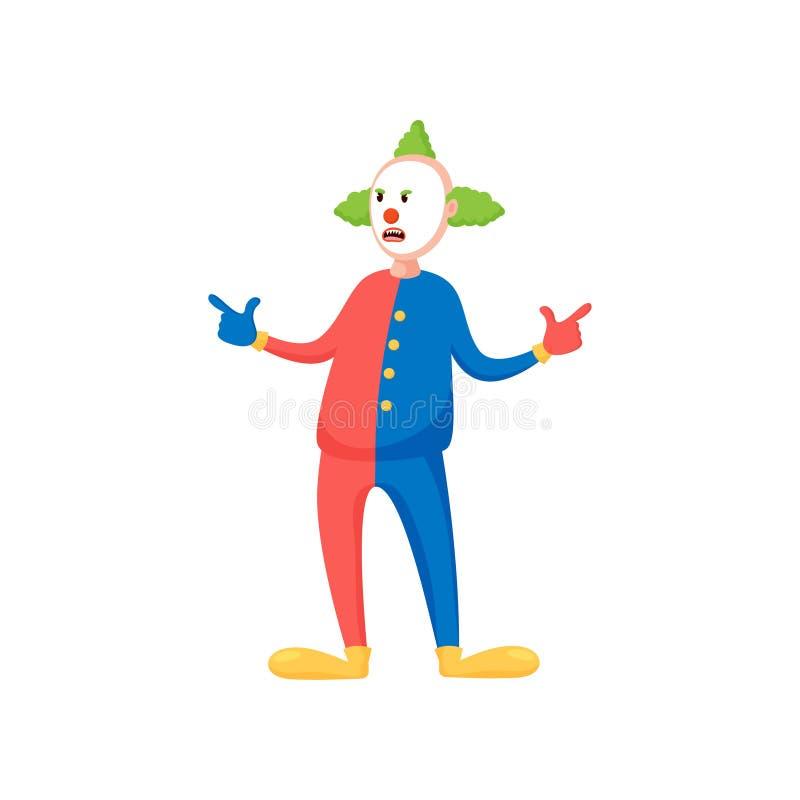 Kühler moderner Clown mit dem grünen Haar und bunter Kleidung vektor abbildung