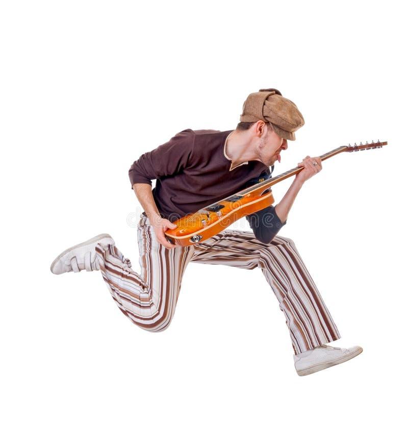 Kühler Musiker auf Weiß stockbilder