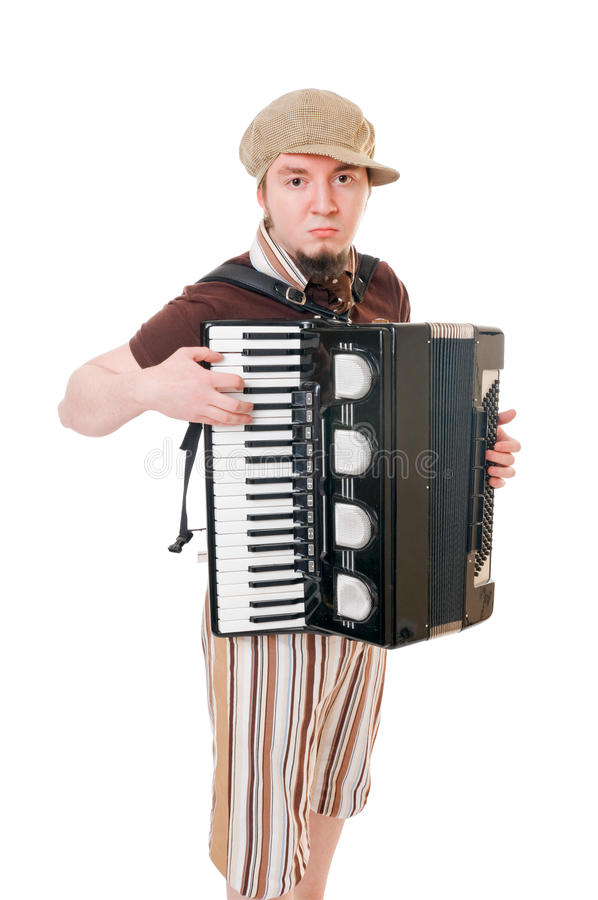 Kühler Musiker mit Konzertina stockfotos