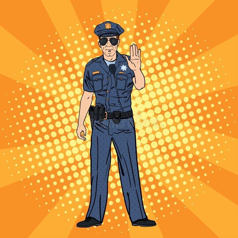 Kühler Polizist Ernster Polizeibeamte Pop-Art lizenzfreie abbildung