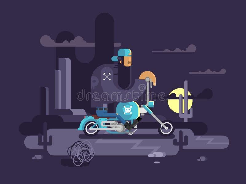 Kühler Radfahrer auf einem Motorrad vektor abbildung