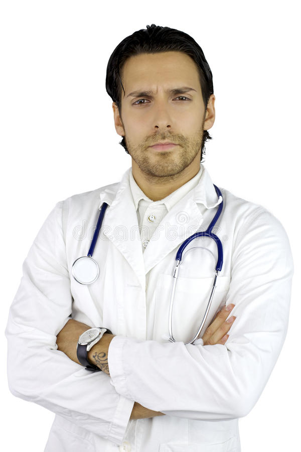 Kühler schöner ernster Doktor stockbild