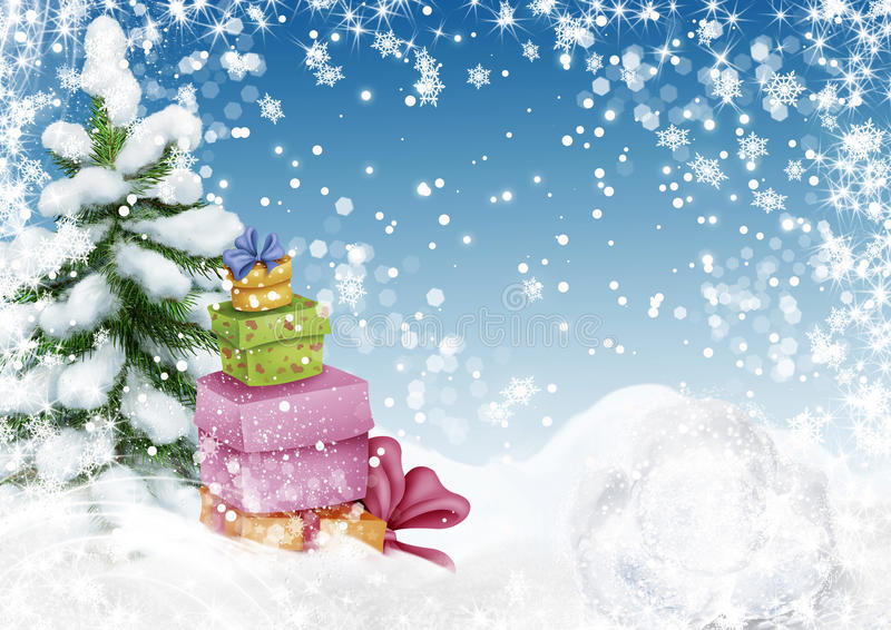 Kühler Weihnachtsbaum mit Präsentkartons in der Winterlandschaft mit stock abbildung