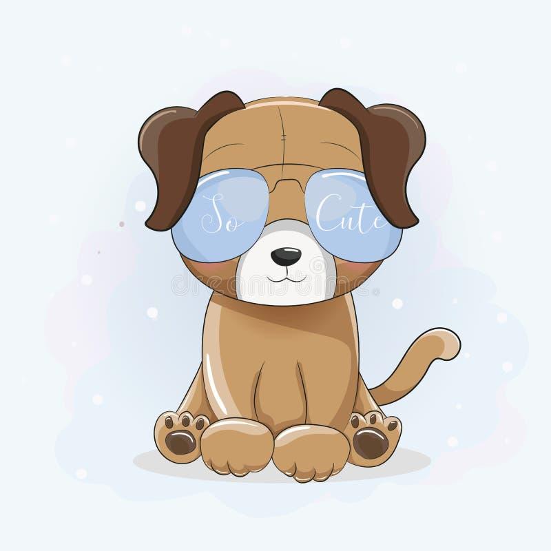 Kühler Welpe der netten Karikatur mit Sonnenbrillen und blauem backbground lizenzfreie abbildung